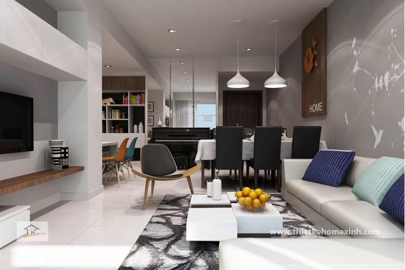Phòng khách và phòng bếp được thiết kế hiện đại