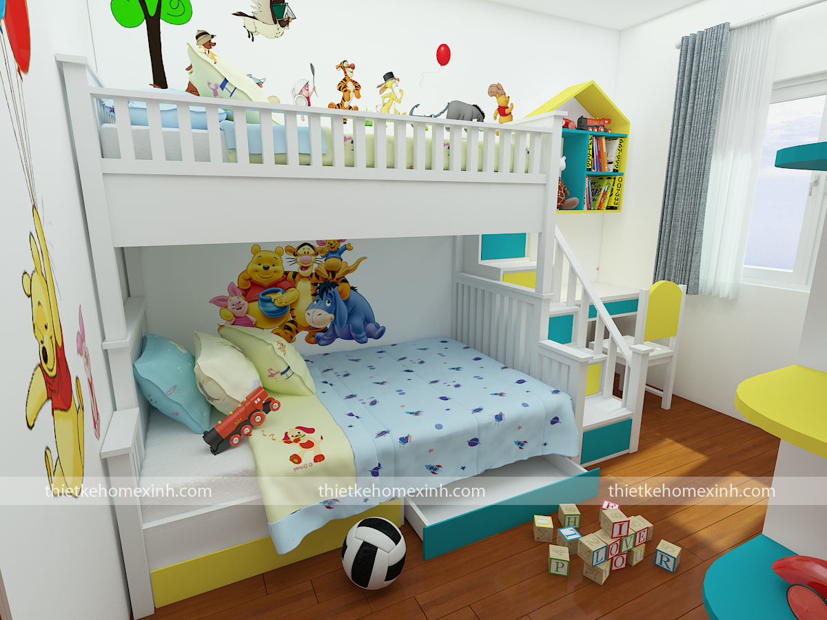Giường tầng cho 2 bé, màu sắc sáng sửa và đáng yêu