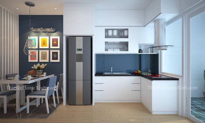 Thiết kế nội thất phòng bếp chung cư linh đàm 65m2