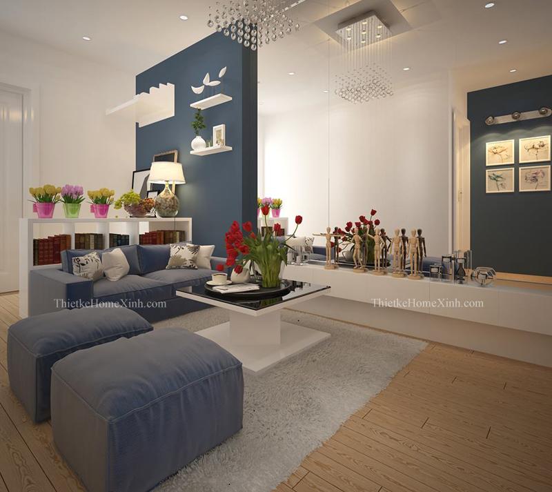 Thiết kế chung cư linh đàm với phòng khách toát lên vẻ sang trọng, ấn tượng