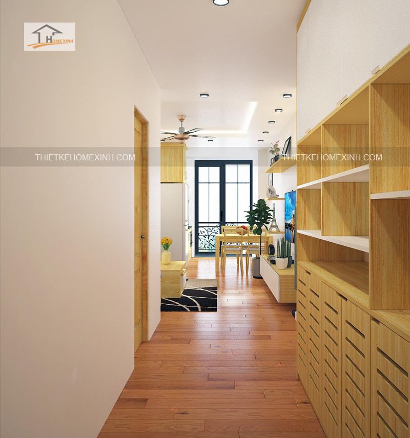 Thiet ke noi that phong khach bep 1 - Thiết kế nội thất phòng khách liền bếp tại chung cư gemek Hà Nội