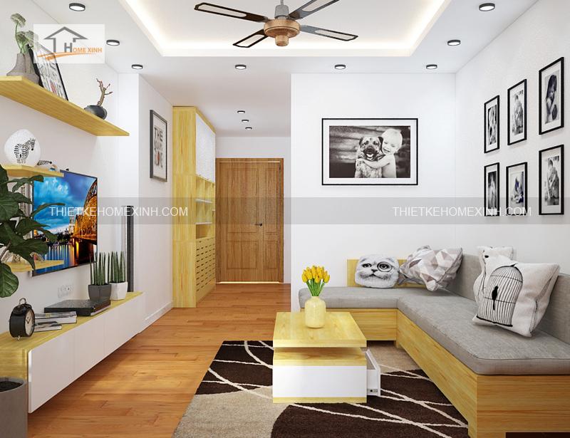 Thiet ke noi that phong khach bep 3 - Thiết kế nội thất phòng khách liền bếp tại chung cư gemek Hà Nội