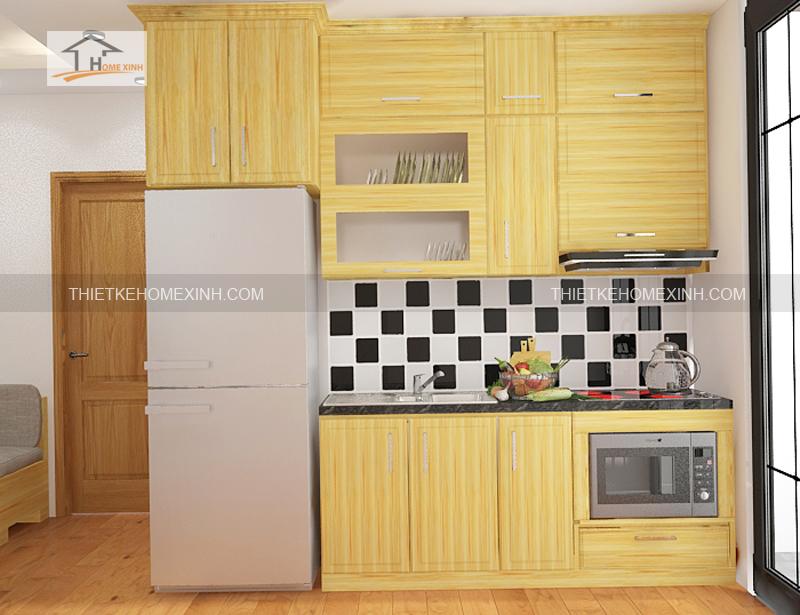 Thiet ke noi that phong khach bep 4 - Thiết kế nội thất phòng khách liền bếp tại chung cư gemek Hà Nội