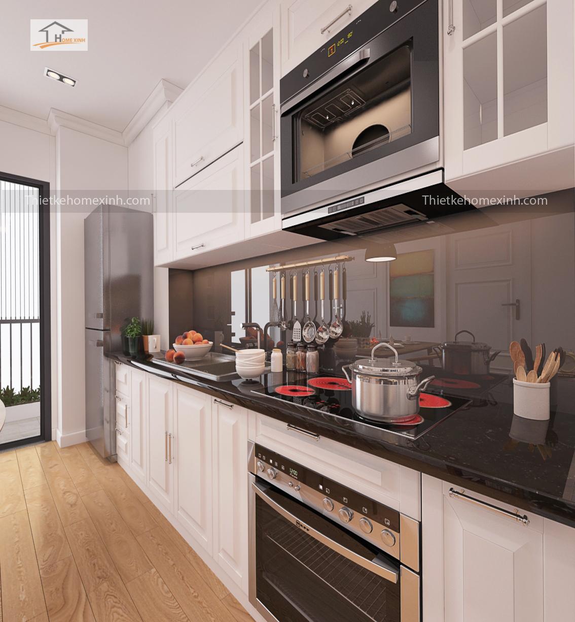 Thiết kế mẫu tủ bếp hiện đại với tông màu trắng