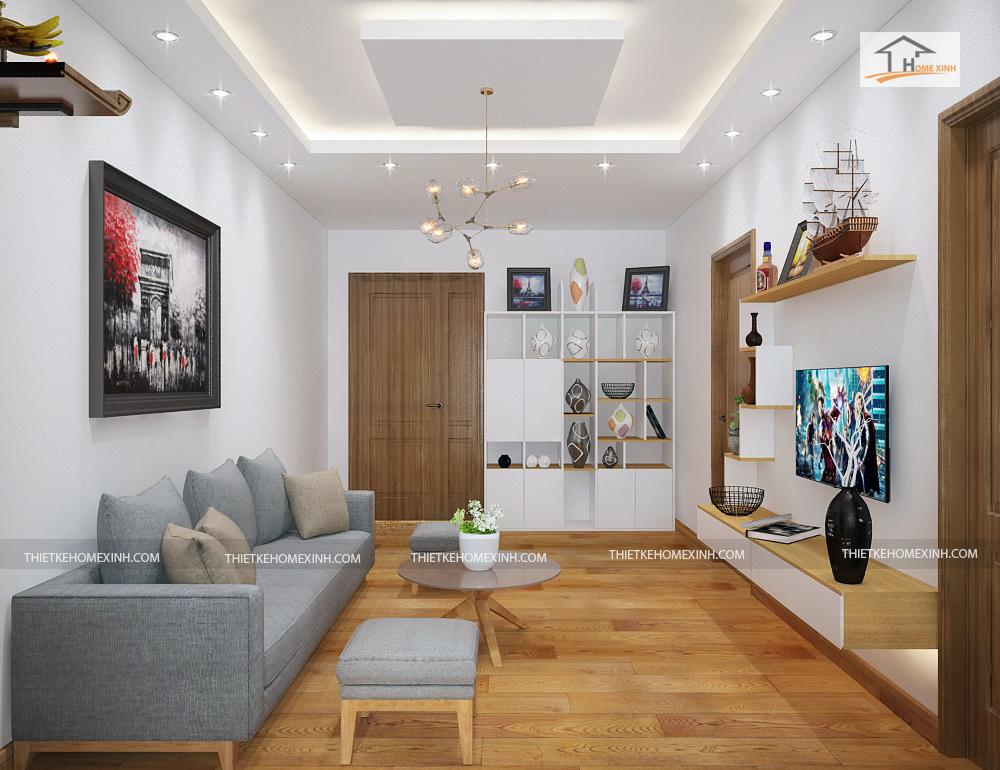 22pk - Thiết kế nội thất phòng khách chung cư nhà anh Dũng – Căn hộ 65m2