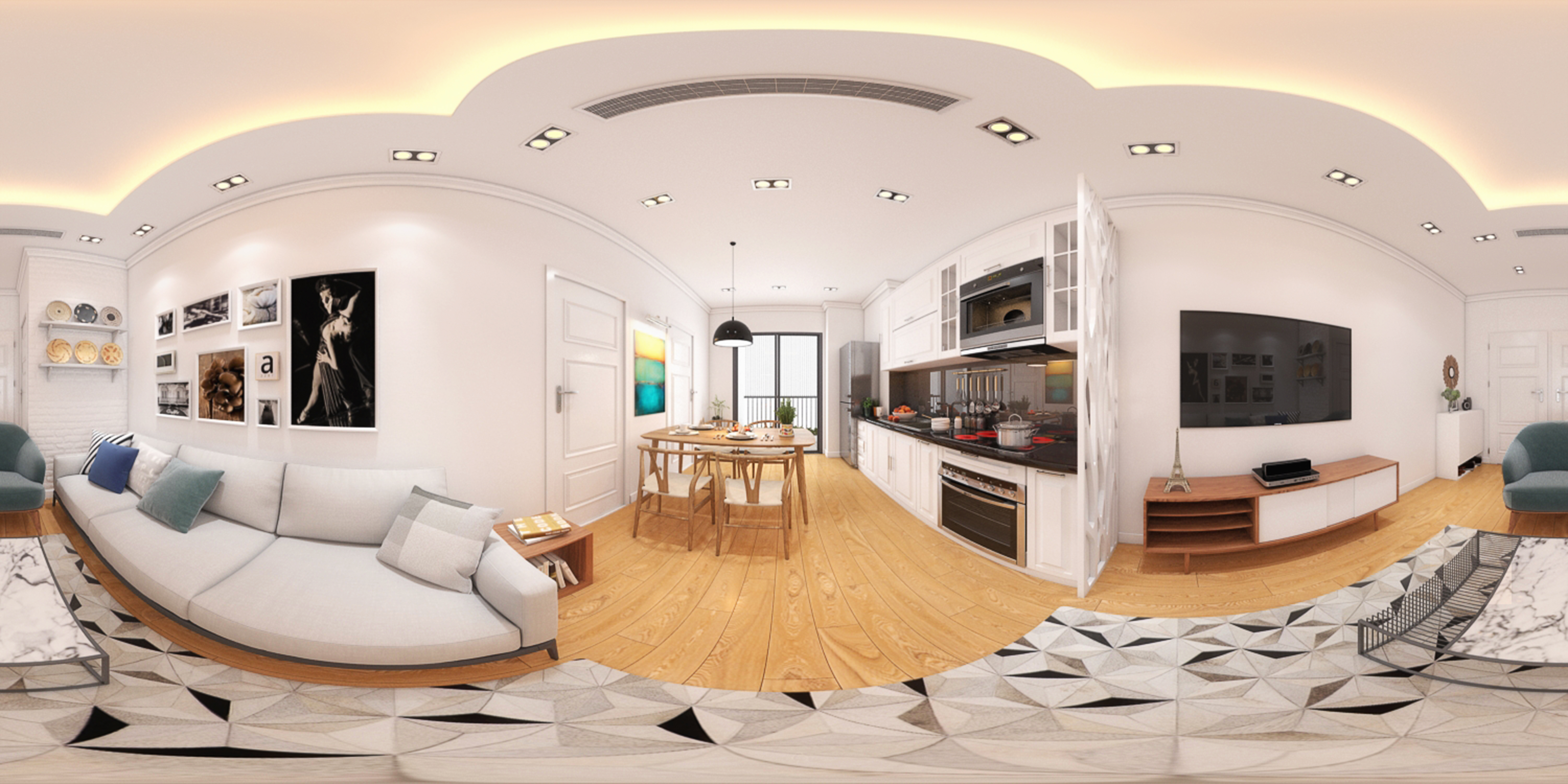 Đây là ảnh thiết kế được ren 360 độ, các bạn có thể xem phòng khách và đẹp thiết kế rất tinh tế và sang trọng