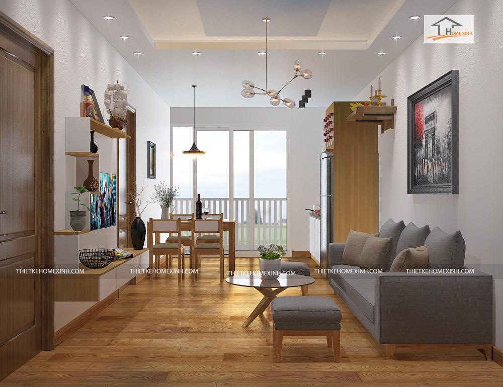 33pk - Thiết kế nội thất phòng khách chung cư nhà anh Dũng – Căn hộ 65m2
