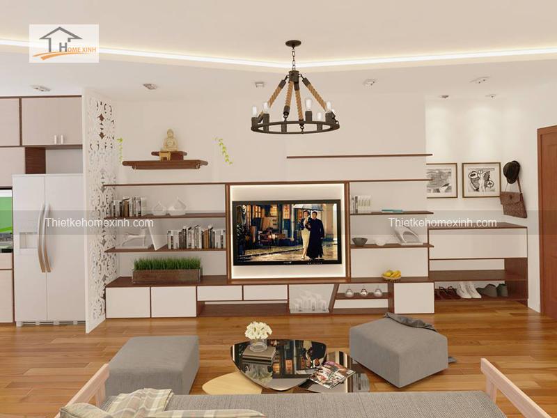 khach1 - Thiết kế nội thất phòng khách chung cư tại Hà Nội