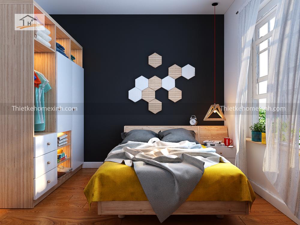 Không gian phòng ngủ nhỏ được bố trí các hạng mục nội thất phù hợp tối ưu công năng sử dụng.