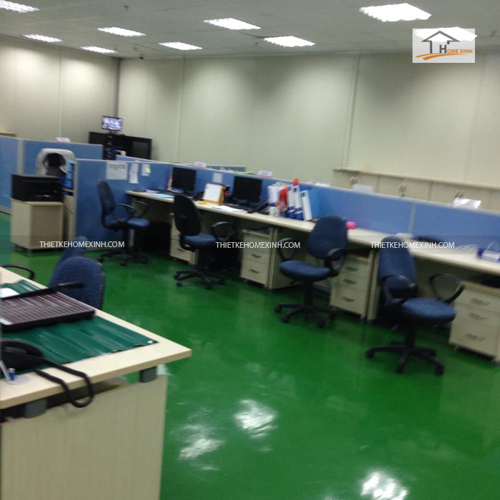Thi công văn phòng với màu xanh