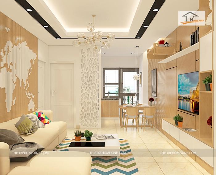 thiet ke phong khach 02 - Thiết kế nội thất phòng khách chung cư Hà Nội
