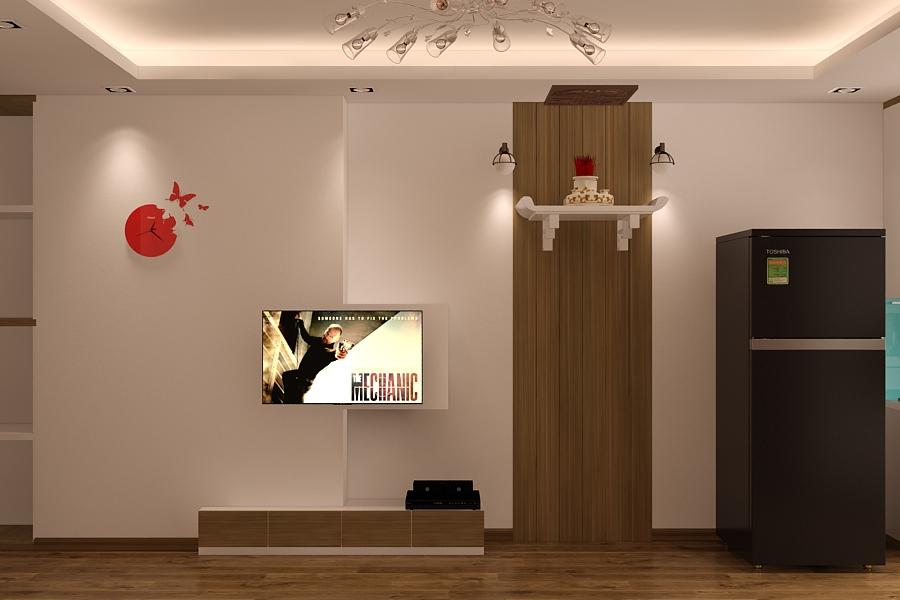 Kệ tivi và bàn thờ phòng khách