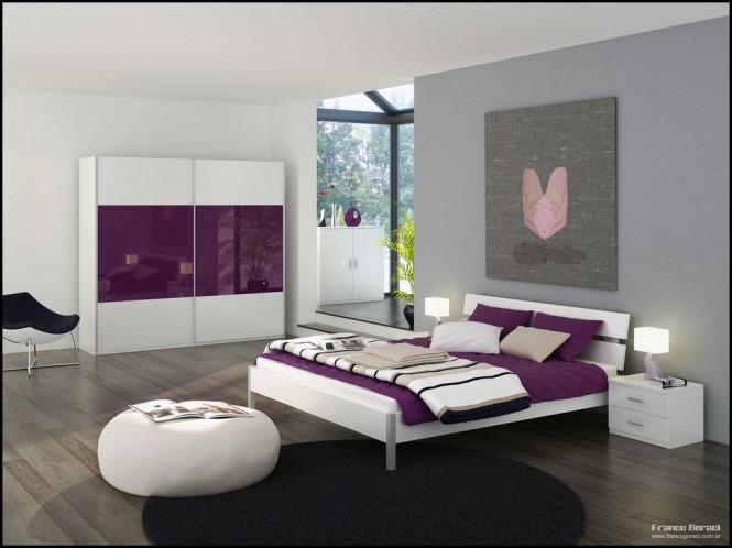 Phòng ngủ màu trắng kết hợp tông màu tím