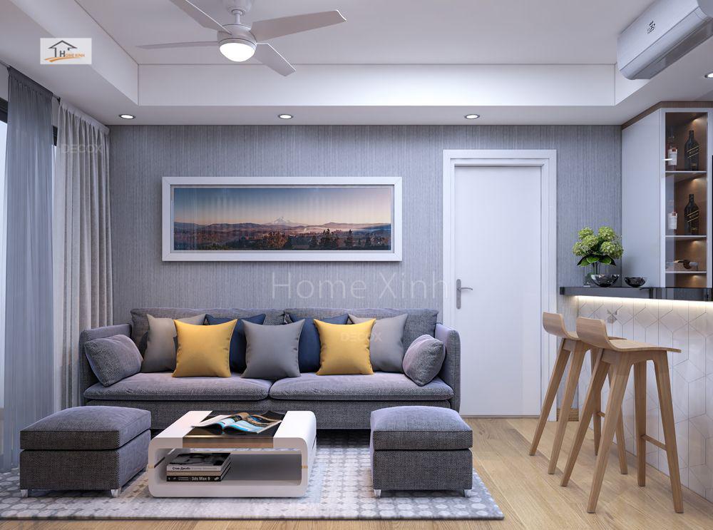 Thiết kế phòng khách chung cư Green stars 02