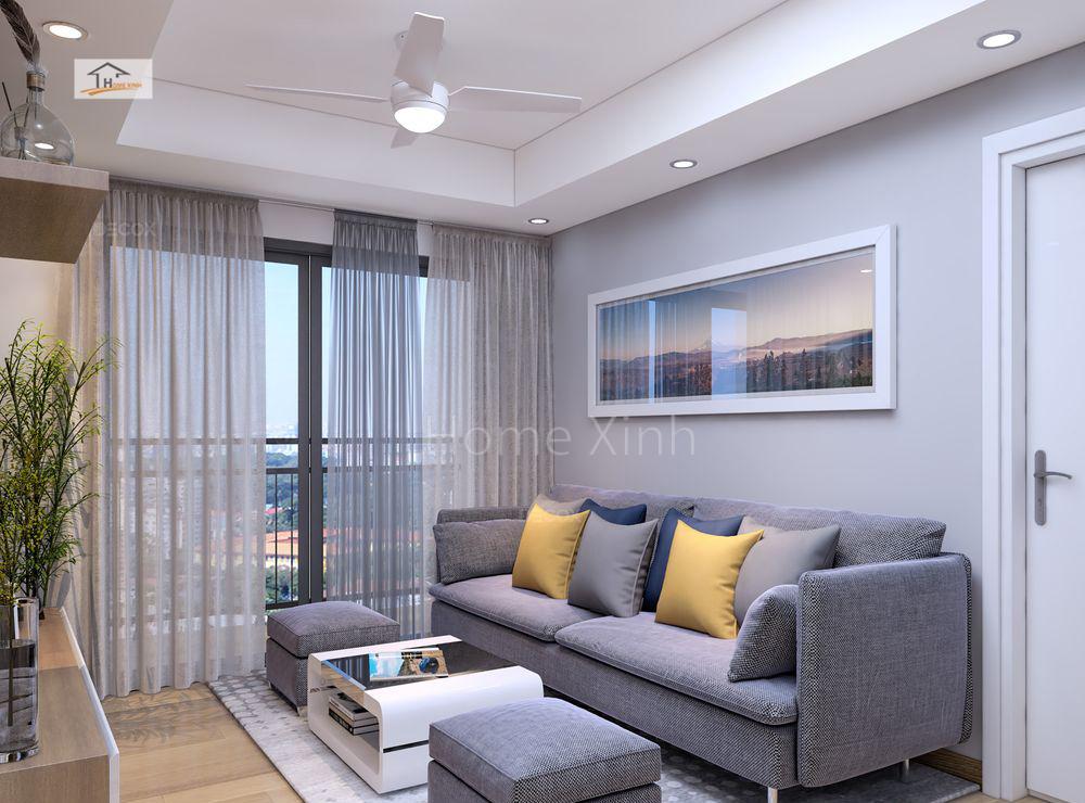 Thiết kế phòng khách chung cư Green stars 03