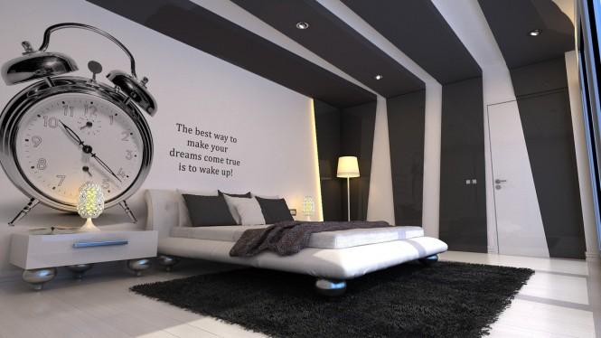 Thiết kế phòng ngủ trắng kết hợp đen