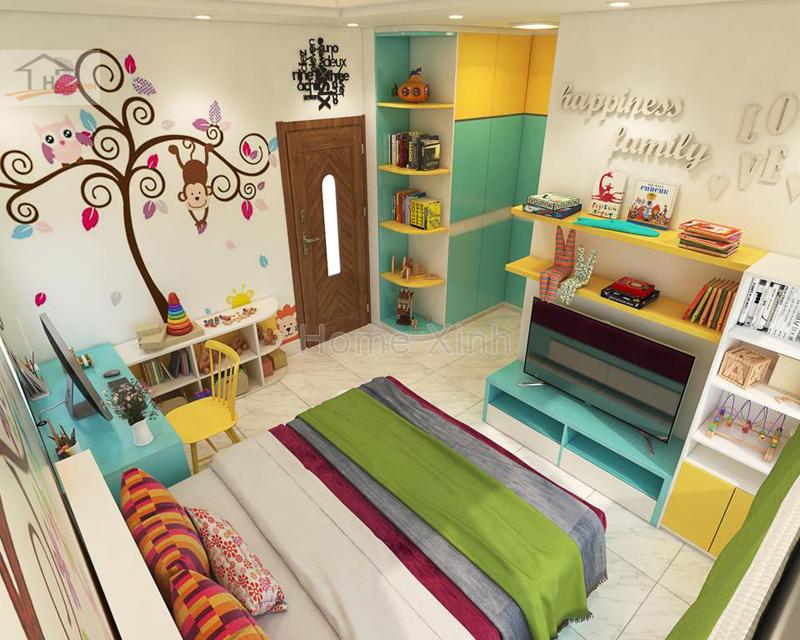 Hình 01: thiết kế nội thất phòng ngủ trẻ em ngộ nghĩnh đáng yêu