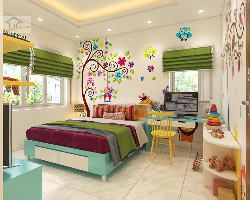 Hình 02: thiết kế nội thất phòng ngủ trẻ em ngộ nghĩnh đáng yêu