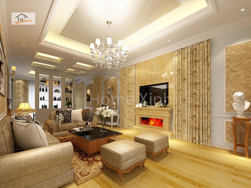 Thiết kế nội thất phòng khách biệt thự - anh Ngọc 01