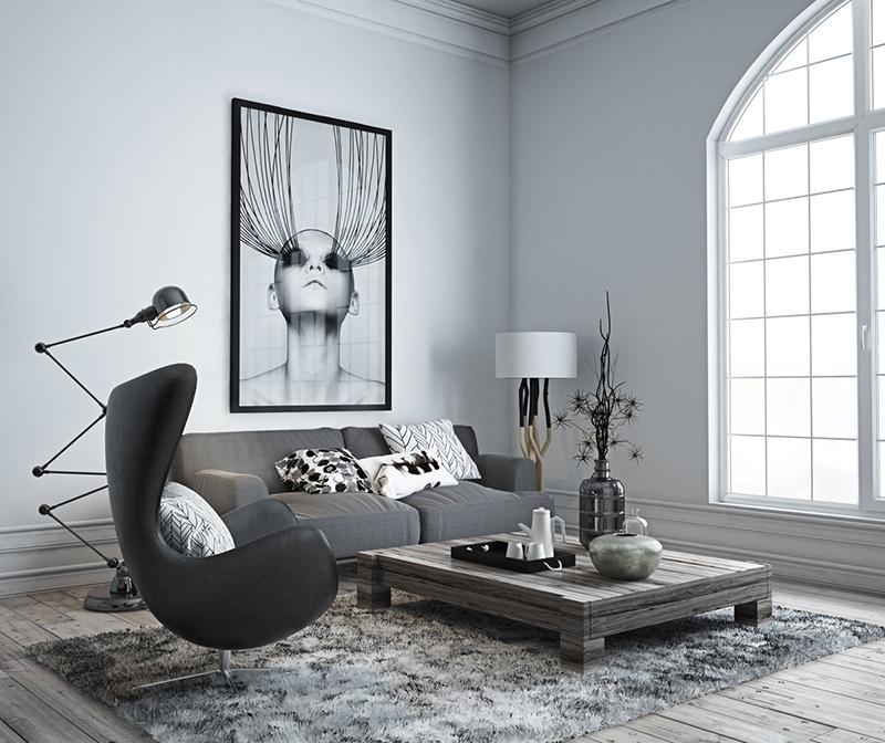 2. Căn phòng được thiết kế bàn trà thấp kiểu nhật kết hợp với chiếc sofa văng, sofa đơn cá tính