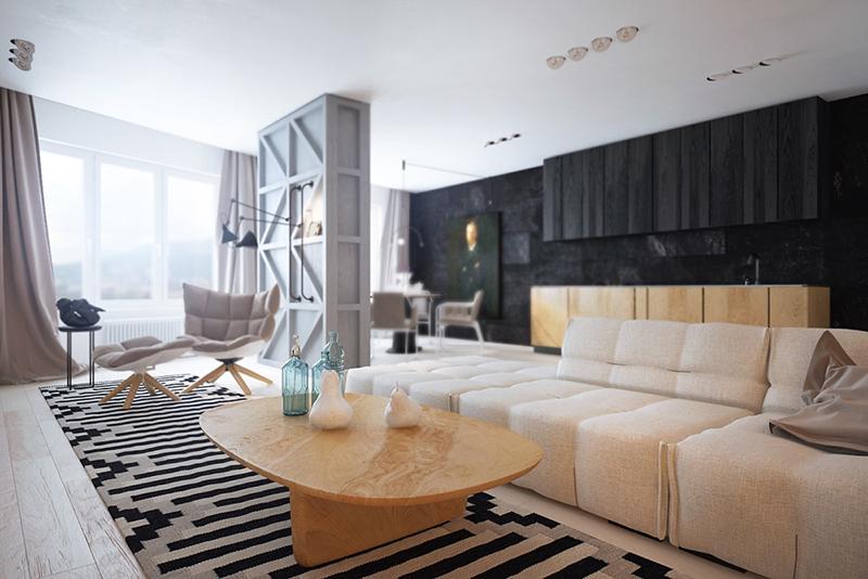 Gam màu đen - trắng cùng nội thất gỗ cho ngôi nhà thêm cá tính