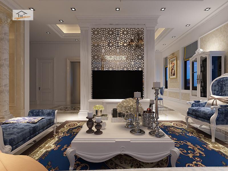 Thiết kế nội thất phòng khách biệt thự Quảng Ninh 02