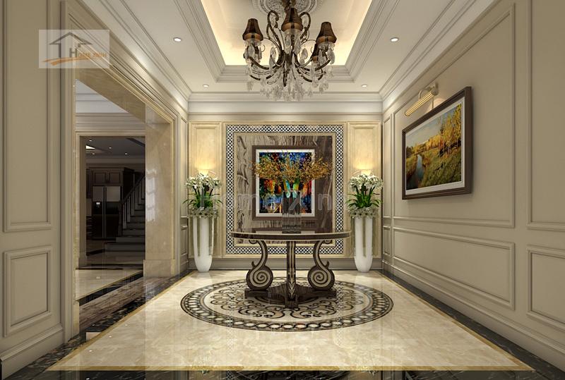 phong khach 01 - Thiết kế nội thất phòng khách tân cổ điển – anh Mã