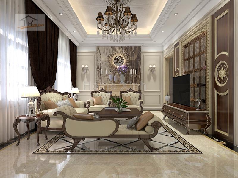 Thiết kế nội thất phòng khách tân cổ điển 01
