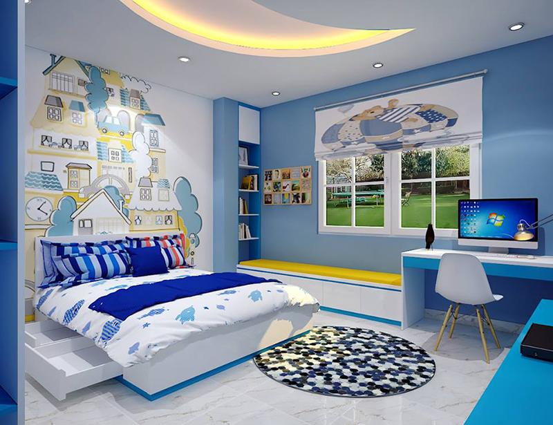 Mẫu nội thất phòng ngủ cho bé trai độc đáo với màu xanh nổi bật khắp căn phòng