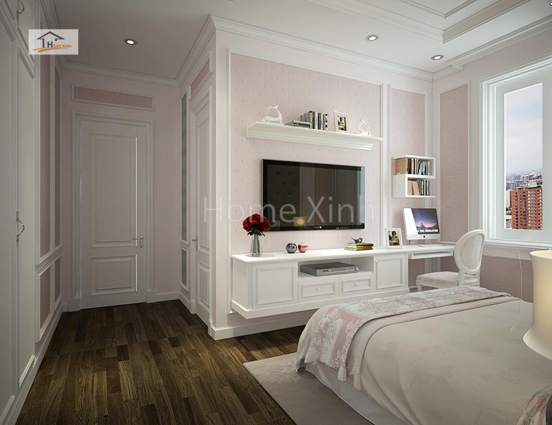 Phòng ngủ con gái được thiết kế đầy đủ tiện nghi