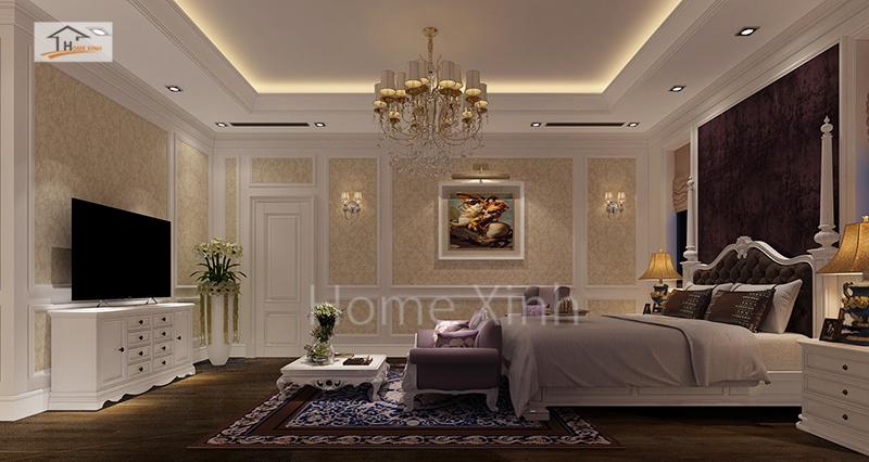 Thiết kế nội thất phòng ngủ master biệt thự Quảng Ninh 02