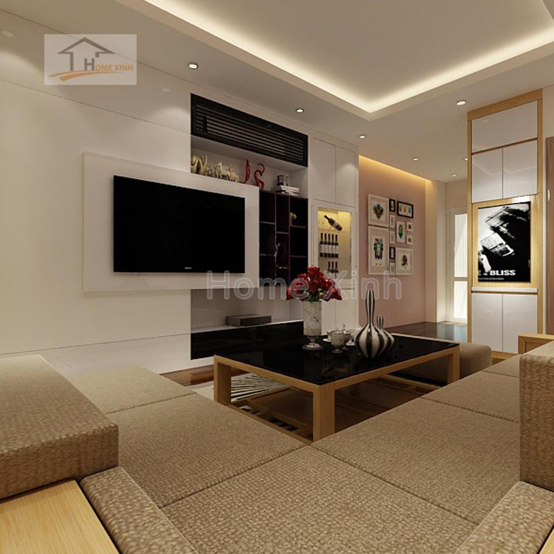 Thiết kế nội thất phòng khách và bếp 1619A chung cư Gemek Tower 02