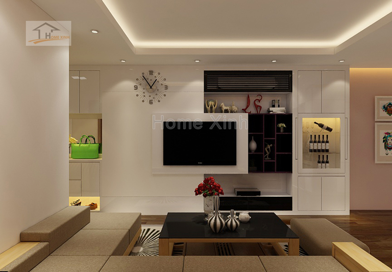 Thiết kế nội thất phòng khách và bếp 1619A chung cư Gemek Tower 03
