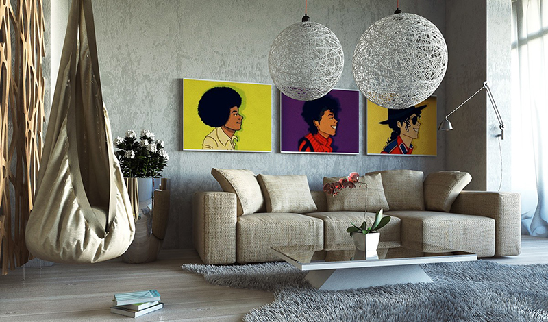 9. Thiết kế không gian phòng khách hài hòa kết hợp deco thú vị