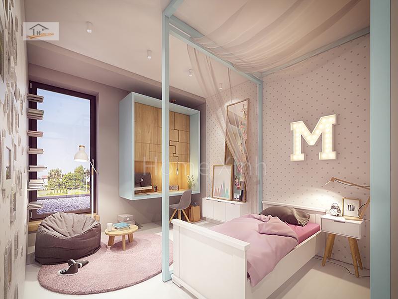 Hình 01: Nội thất phòng ngủ trẻ em là một bé gái diện tích phòng 14m2