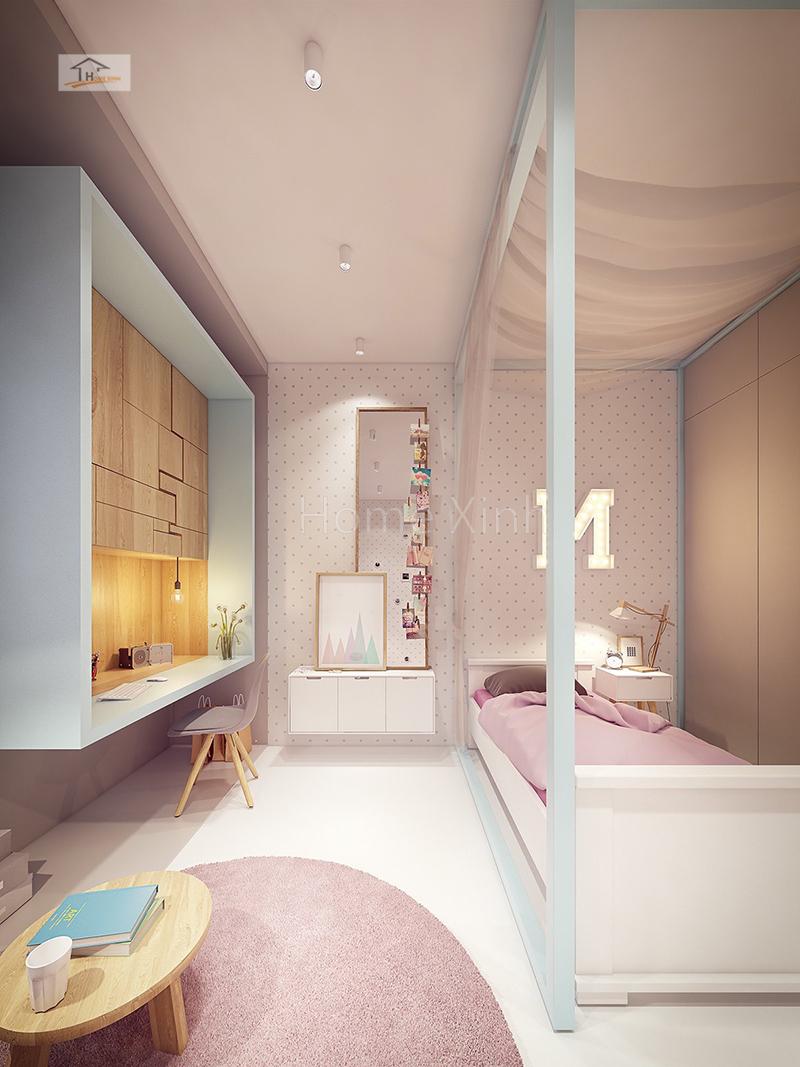 Hình 02: Nội thất phòng ngủ trẻ em là một bé gái diện tích phòng 14m2