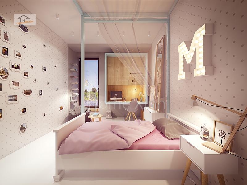 Hình 03: Nội thất phòng ngủ trẻ em là một bé gái diện tích phòng 14m2