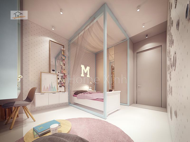 Hình 05: Nội thất phòng ngủ trẻ em là một bé gái diện tích phòng 14m2