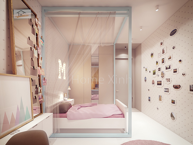 Hình 06: Nội thất phòng ngủ trẻ em là một bé gái diện tích phòng 14m2