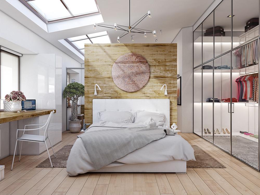 thiết kế phòng ngủ hiện đại với tủ áo rộng rãi