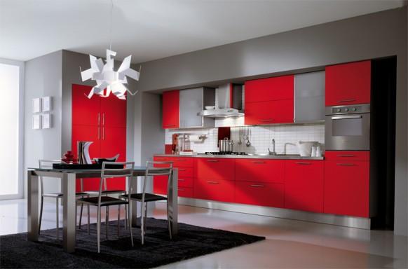 1. Tủ bếp màu đỏ đẹp và cá tính với nền màu ghi