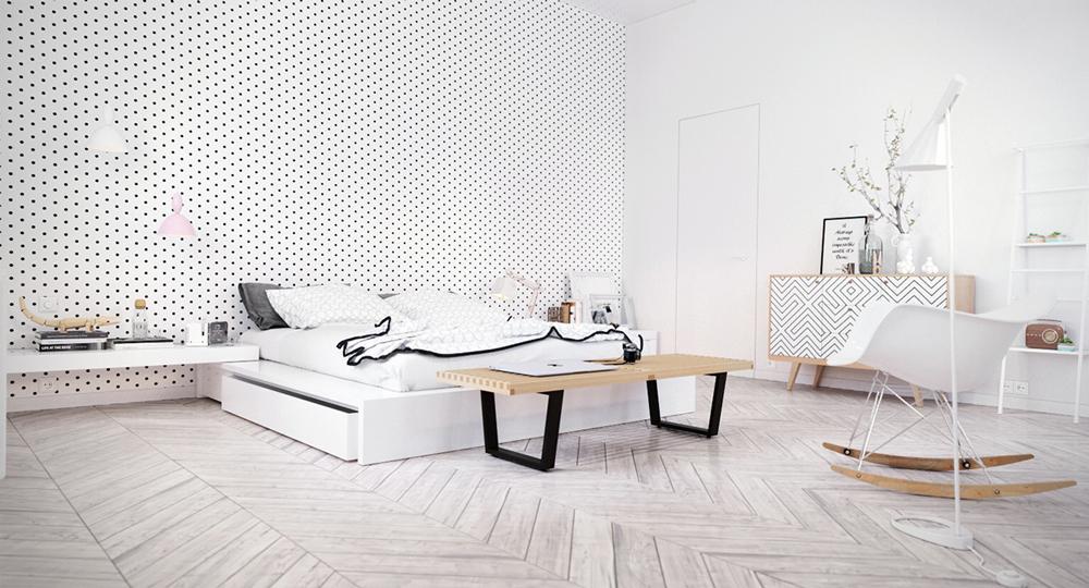 1. Mẫu phòng ngủ đơn giản, đầu giường được thiết kế tạo các điểm chấm đen thú vị