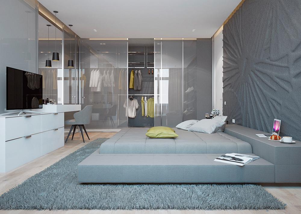 10. Mẫu phòng ngủ với tông màu ghi hiện đại, tủ áo với của kính mờ rất đẹp