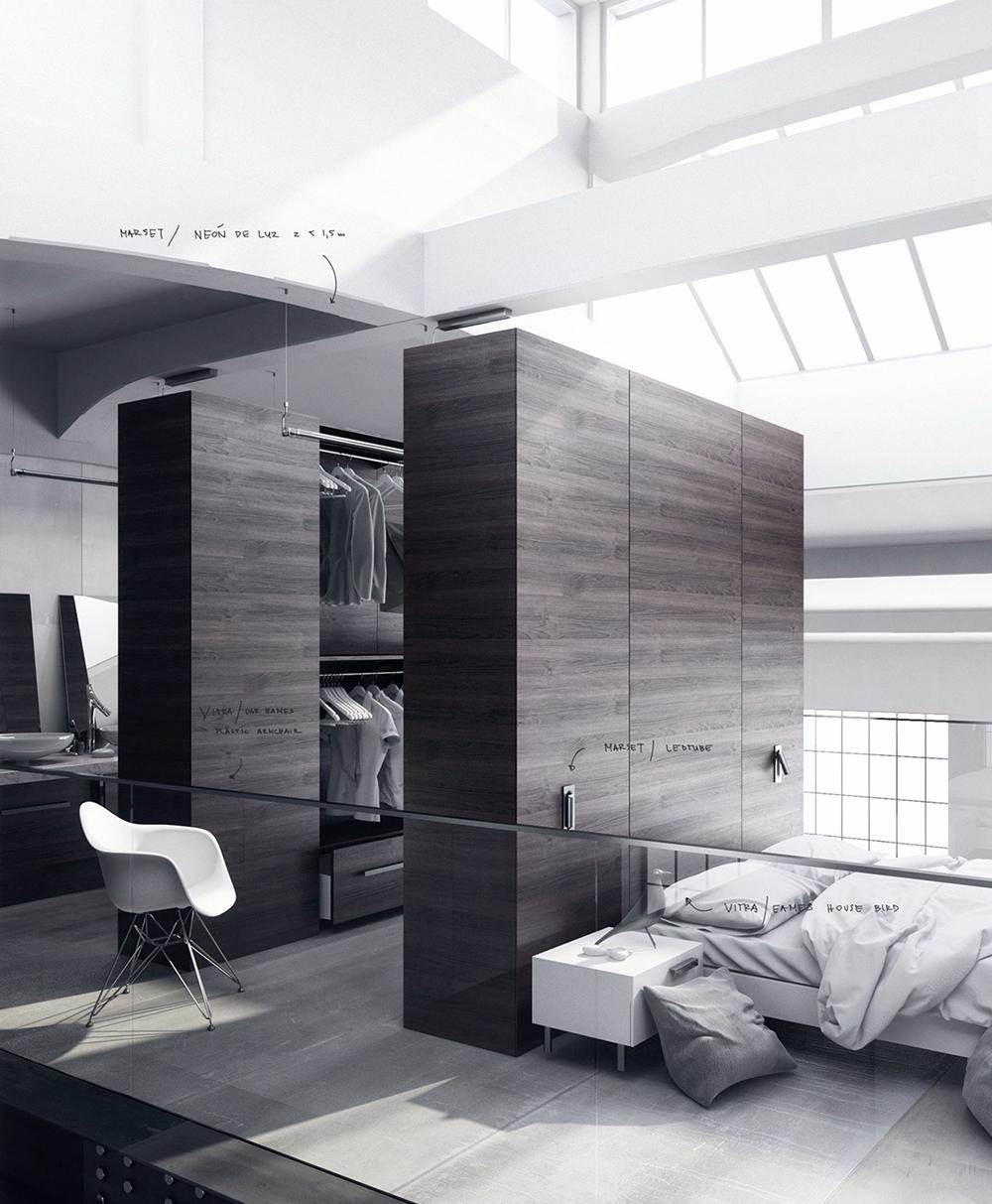 Thiết kế phòng ngủ với tủ quần áo thông minh