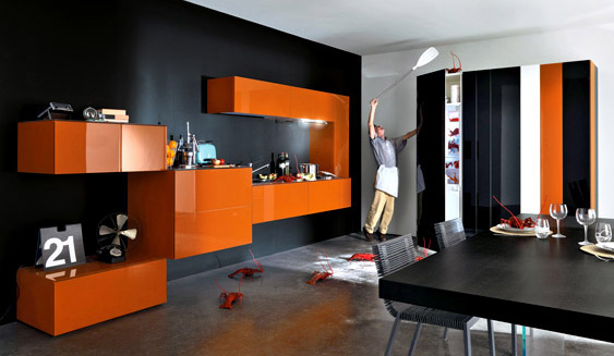 10. Tủ bếp với thiết kế hiện đại, và cá tính với các khoang tủ tạo cảm giác thú vị trong không gian phòng bếp