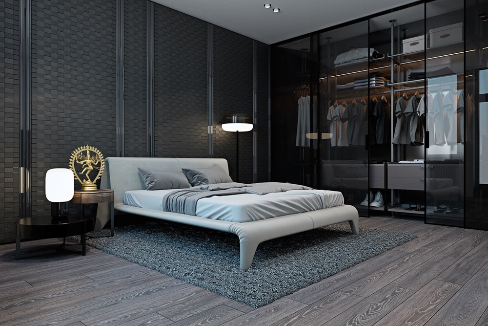 Mẫu thiết kế nội thất phòng ngủ đẹp và ấn tượng với điểm nhấn trên tủ quần áo