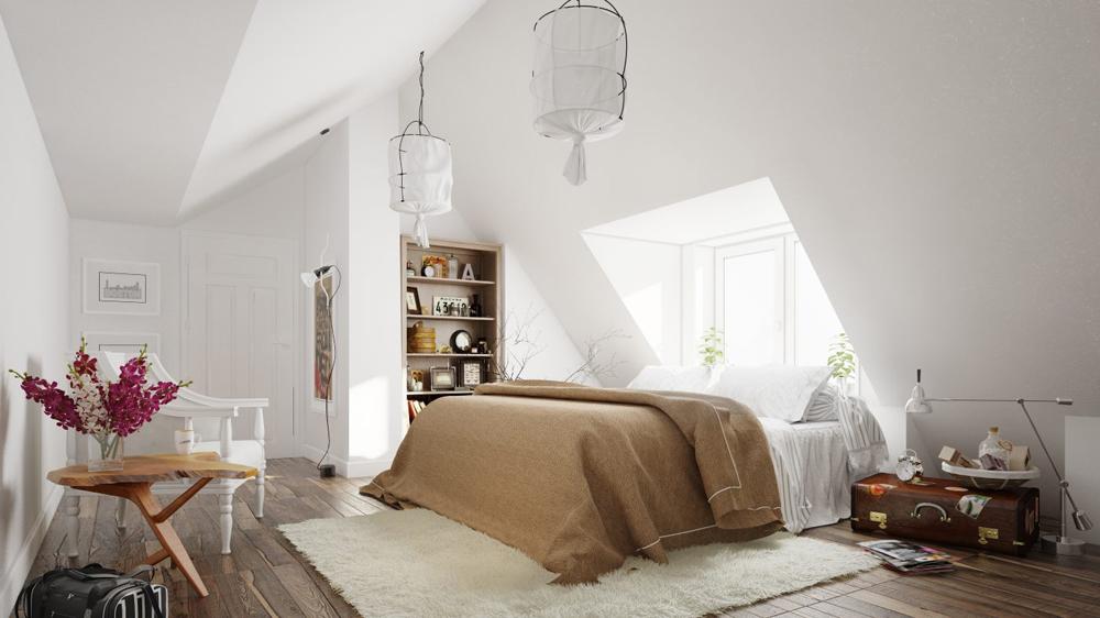 16. Phòng ngủ trên mái nhà đầy đủ tiện nghi