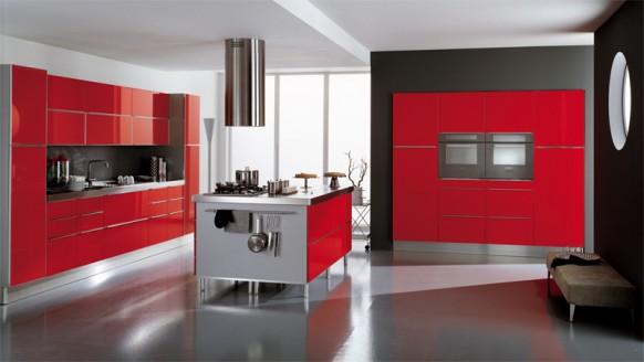 14. Nội thất phòng bếp màu đỏ ấn tượng