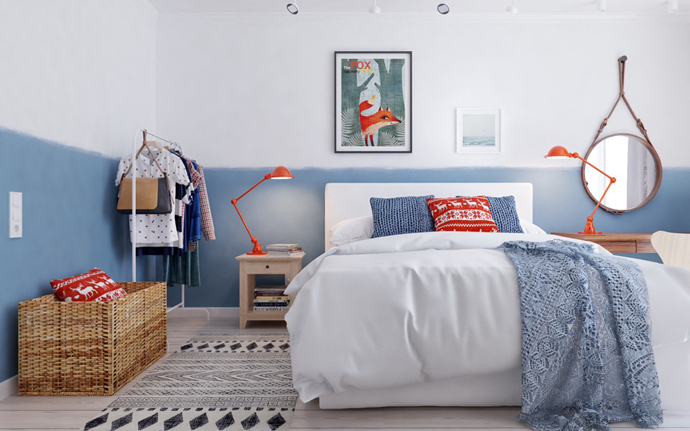 14. Phòng ngủ này kết hợp của các tông màu nhấn nhã rất thú vị