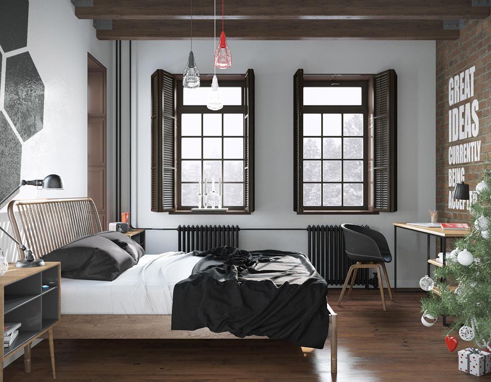 13. Mẫu nội thất phòng ngủ cá tính